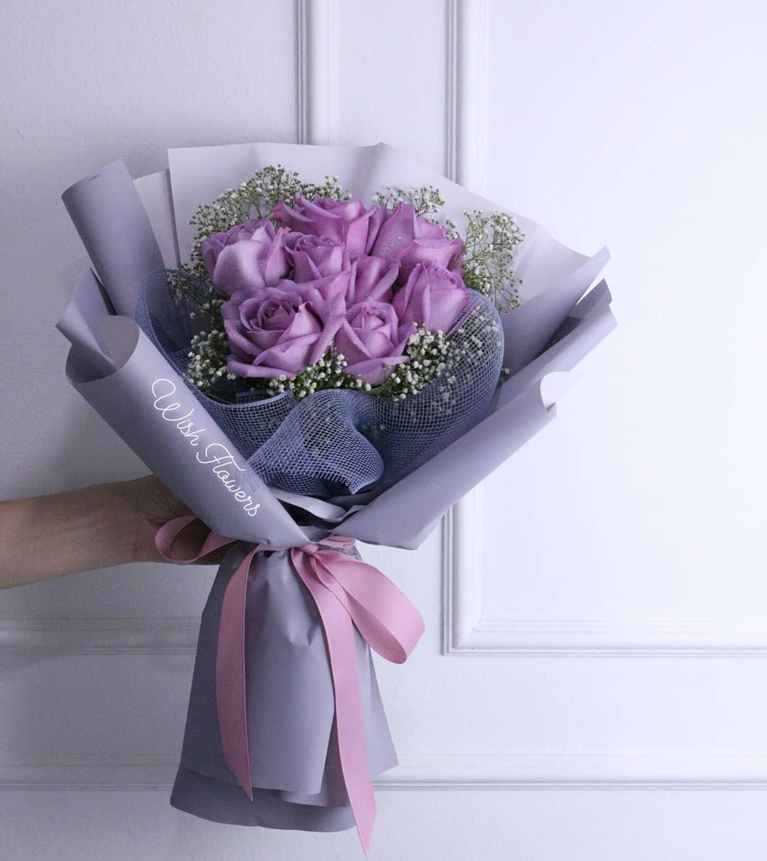 Purple Rose Bouquet 01 Wish Flowers